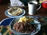 Gallo pinto, eggs, tortilla & coffee