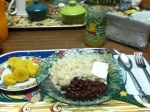 Rice, beans, cheese, boiled maduro (ripe plaintain)